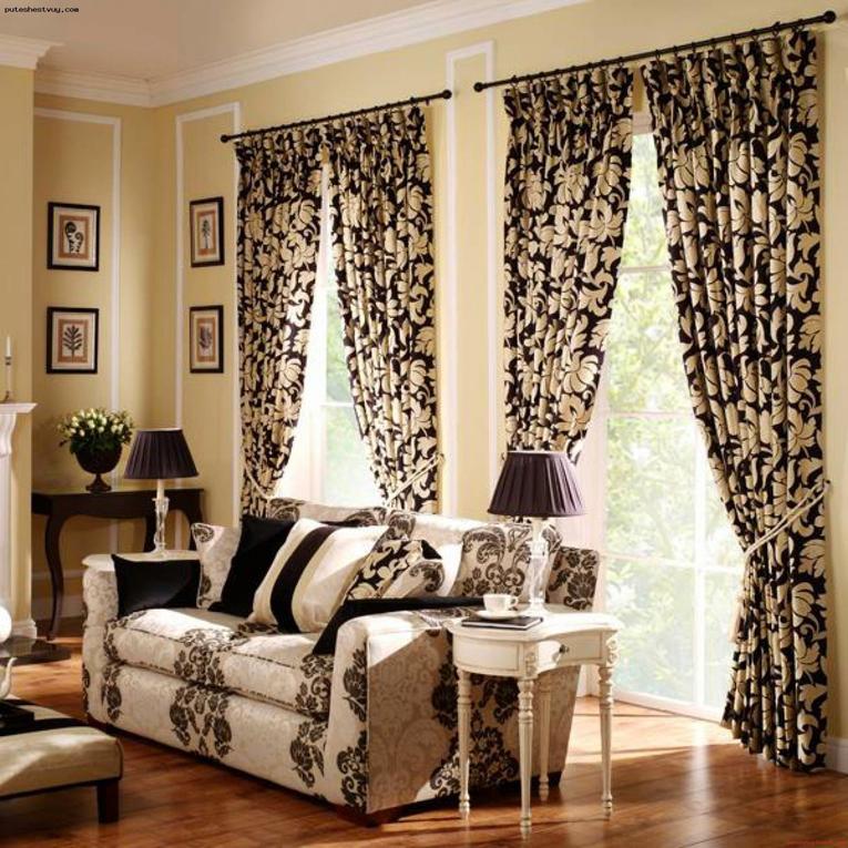 красивые шторы на два окна в зал фото