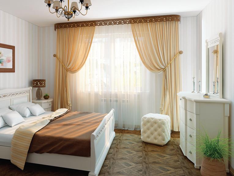 Фигурный ламбрекен в интерьере спальни