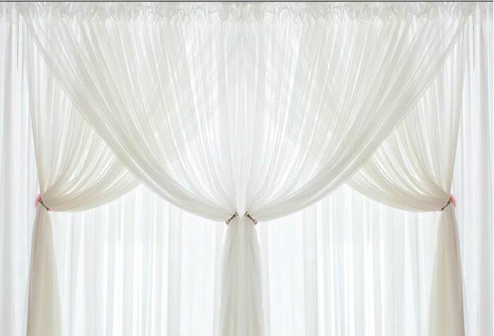 шторы из вуали в три ряда
