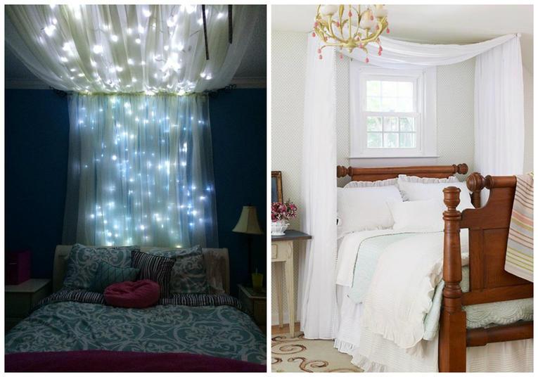 Как сделать полог над кроватью фото