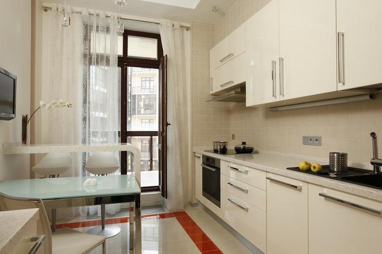 die Küche Vorhänge an die Balkontür Design