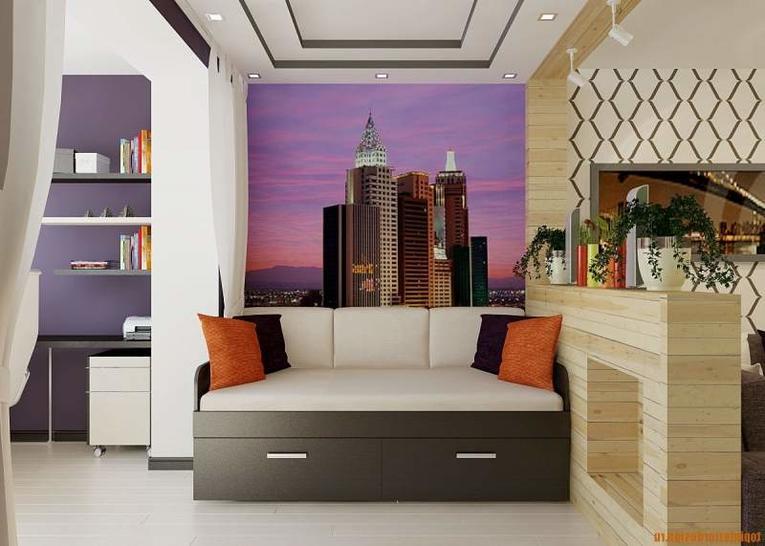 Разделение комнаты шторами на две зоны: фото с идеями зонирования