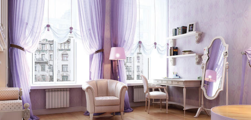 Сиреневые шторы в интерьере гостиной