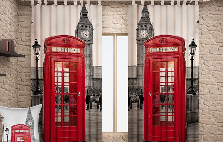 Фотошторы с изображением красных лондонских телефонных кабинок понравятся ценителям британского стиля.